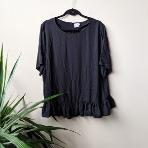 ASOS Ruffle Peplum Short Sleeve Black Blouse sz 18